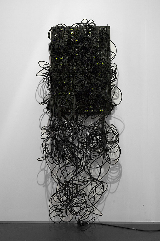 Data and Dragons: Kilohydra, 2014, custom designed PCB boards, ethernet patch cables, 80/20 aluminum installation: 75 x 23.75 x 20 in / 190.5 x 60.3 x 50.8 cm, Photo by John Berens for bitforms gallery, New York City, United States
