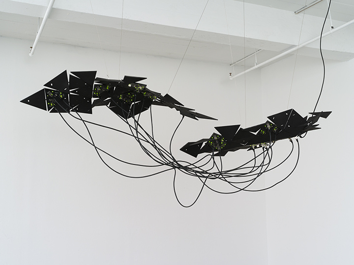 Data and Dragons: Cloud Farming, 2014 custom designed printed circuit boards, ethernet patch cables, 80/20 aluminum installation: 31 x 87 x 35 in / 78.7 x 221 x 88.9 cm, Photo by John Berens for bitforms gallery, New York City, United States