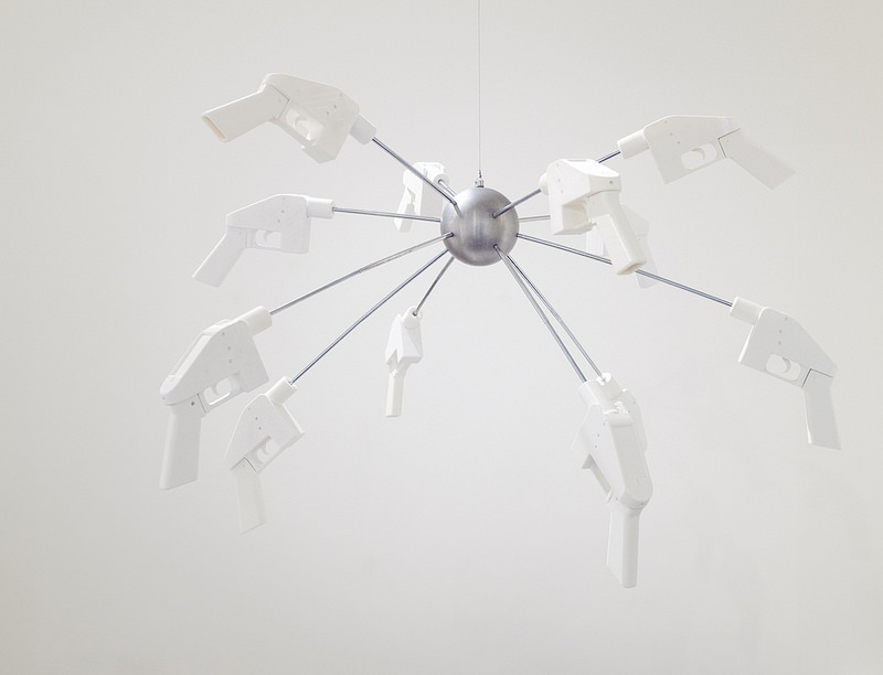 Ceiling mounted 3D printed liberators on custom metal body, 4.25 x 6.25 x 16 in / 10.8 x 15.9 x 40.6 cm, Courtesy the artist and bitforms gallery, Image credit Mario Gallucci, courtesy Upfor Gallery
