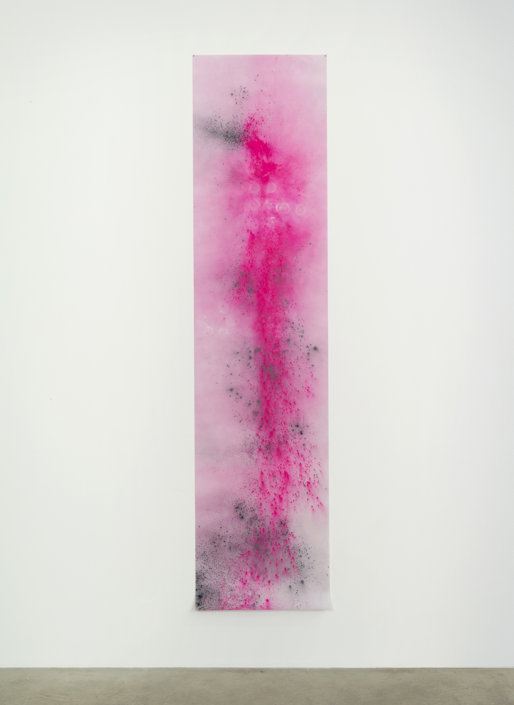 Agra at Dusk, 2014, gun powder, thermochromic pigment and beet-dyed pigment on vellum, 100 x 24 in / 254 x 61 cm