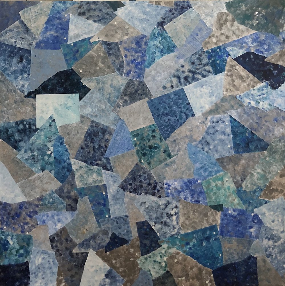 THEM BILLS- BLUE - Bank statements covered in shades of blue and silver, to erase the daily expenses one incurs.100cm x 100cmAcrylic on paper, on canvas2017