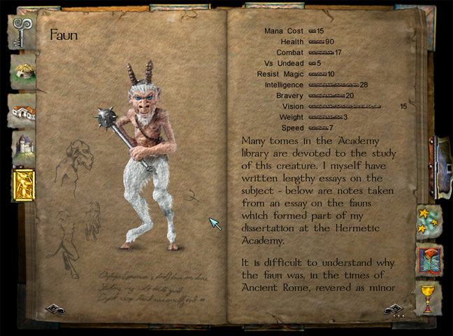 The Grimoire showing the Faun. The artwork used is taken from the clay figurines used as the animated sprites in-game.