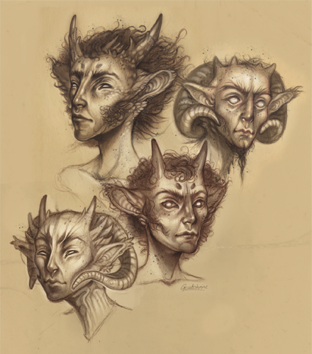 I do not know exactly who or what these guys are supposed to be but they're welcome my sketchbook anytime. Fauns maybe?