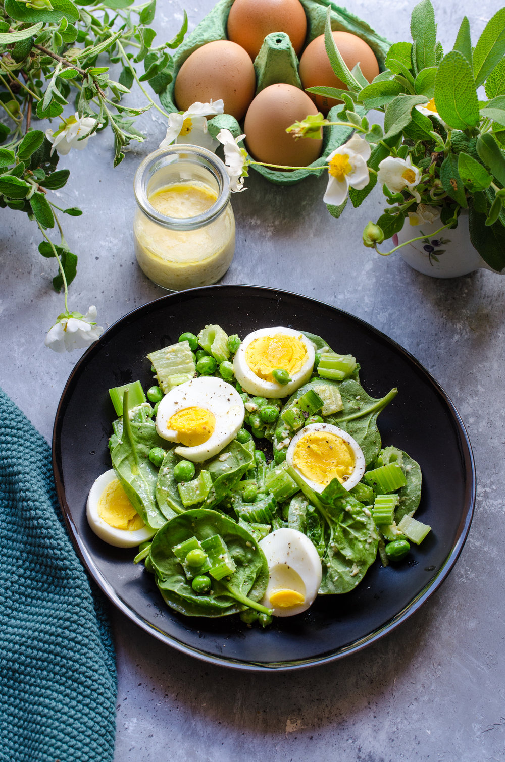 Pea celery baby spinach salad with boilded eggs.jpg
