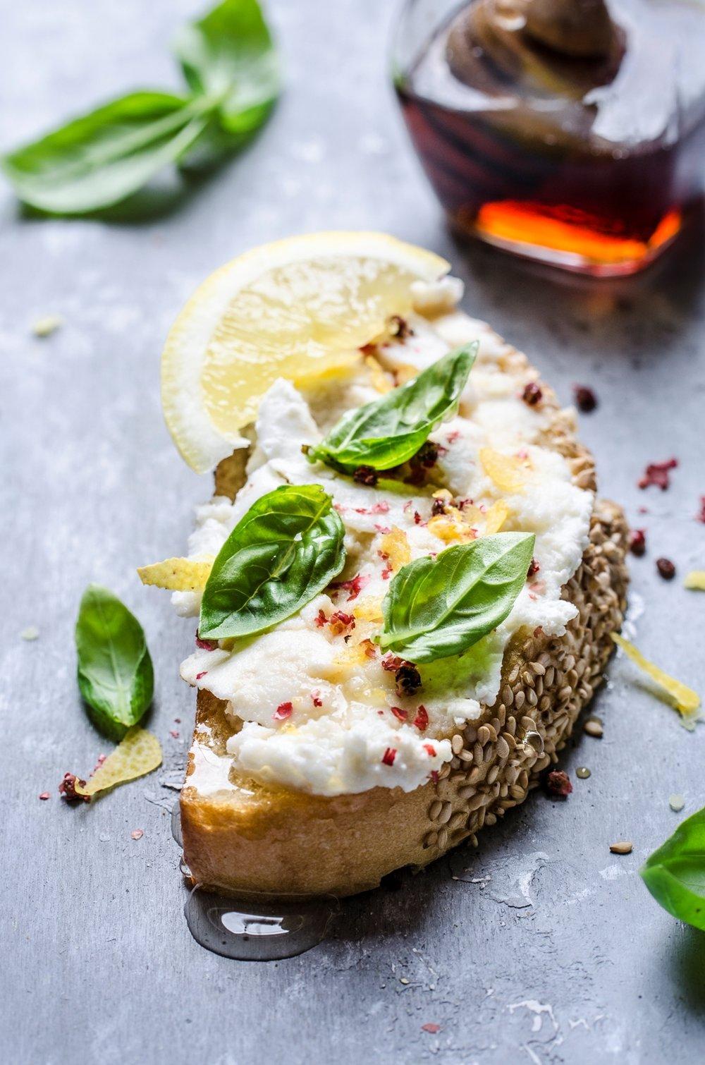 Bruschetta with ricotta, red pepper, lemon zest and chestnut honey p.jpg