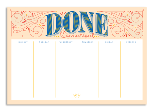 done is beautiful weekly planner