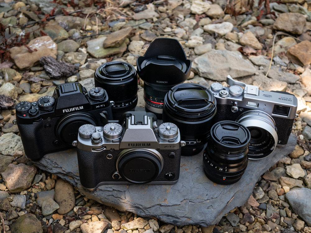 My camera family. Three bodies and four lenses.