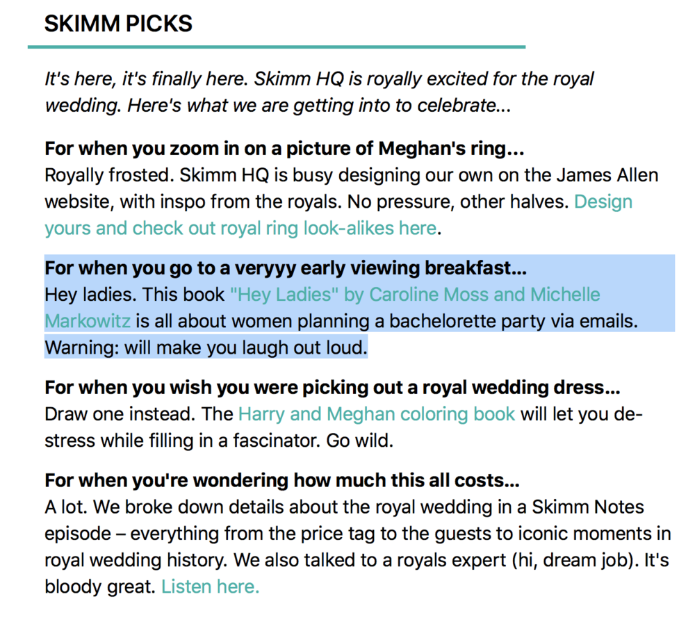 We were a SKIMM PICK! May 18, 2018