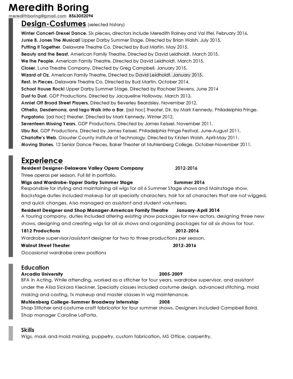 resume meredith boring theatrical design resume