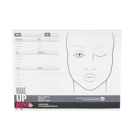 FACE CHART PAD - Our custom face charts are designed with multiple product descriptions and a facial outline to help execute the perfect makeup application. Double-sided for additional detail descriptions. 25 charts per pad. Upload photos of your completed face chart to Instagram and tag @makeupfirstschool to share your design.
