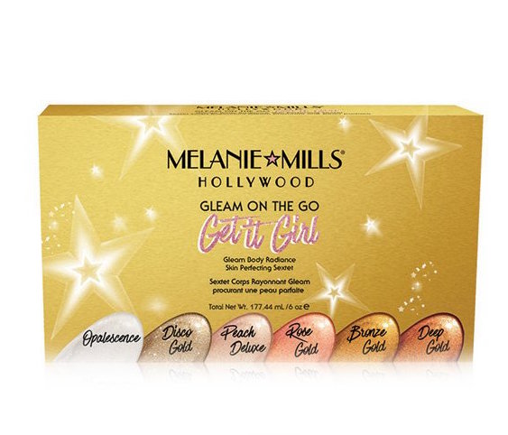 MELANIE MILLS HOLLYWOODGet It Girl Gleam on the Go - Makeup, moisturizer, and glow all in one that's great for body or face. Highlight, enhance natural skin tones, and create a subtle glow that won't stain, streak, or rub off.