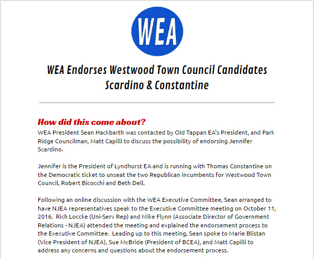 A screenshot of WEA's endorsement of our opponents that not only clearly states that outside influences initiated this process, but also that the entire process to solely benefit our opponents - not Westwood.