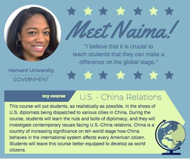 """US - China Relations""   Naima Green,  Harvard University Government"