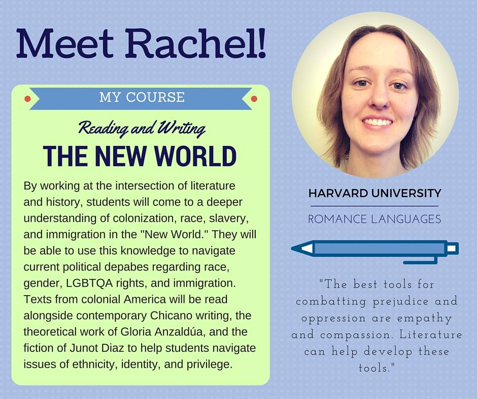 """Reading and Writing the New World""   Rachel Combs-Gonzalez,  Harvard University Romance Languages & Literatures"