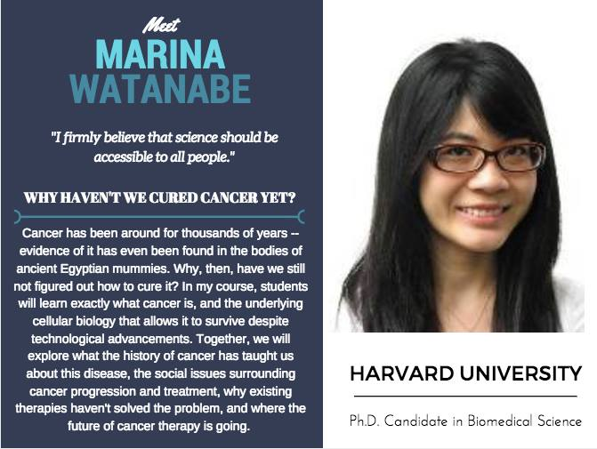 """Why Haven't We Cured Cancer""   Marina Watanabe,  Harvard University"
