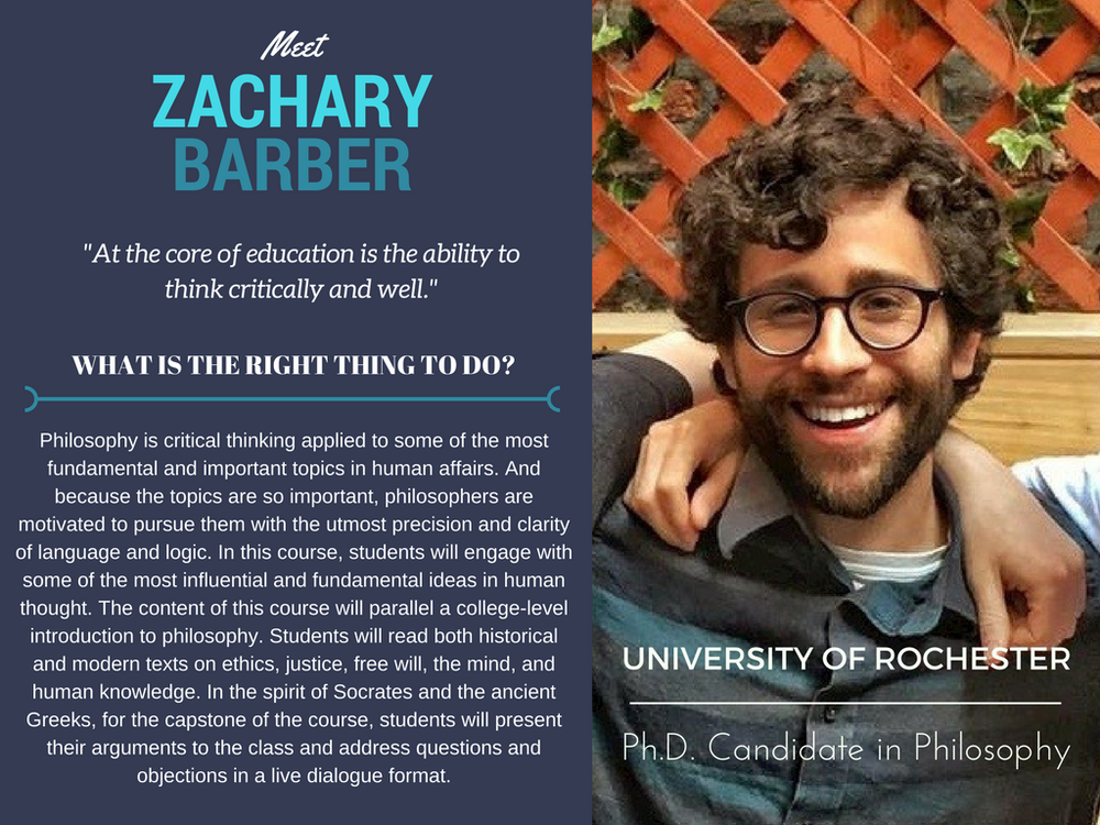 """What Is the Right Thing to Do?""   Zachary Barber,  University of Rochester"