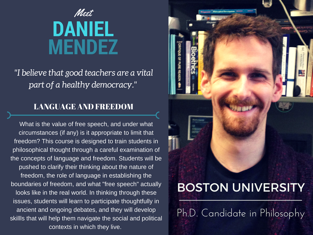 """Language and Freedom""   Daniel Mendez,  Boston University"