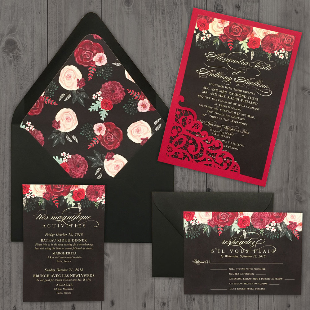 Custom wedding invitation suite featuring hand-painted flowers.