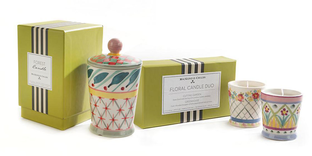 Packaging for MacKenzie-Childs Taylor Candle Collection.