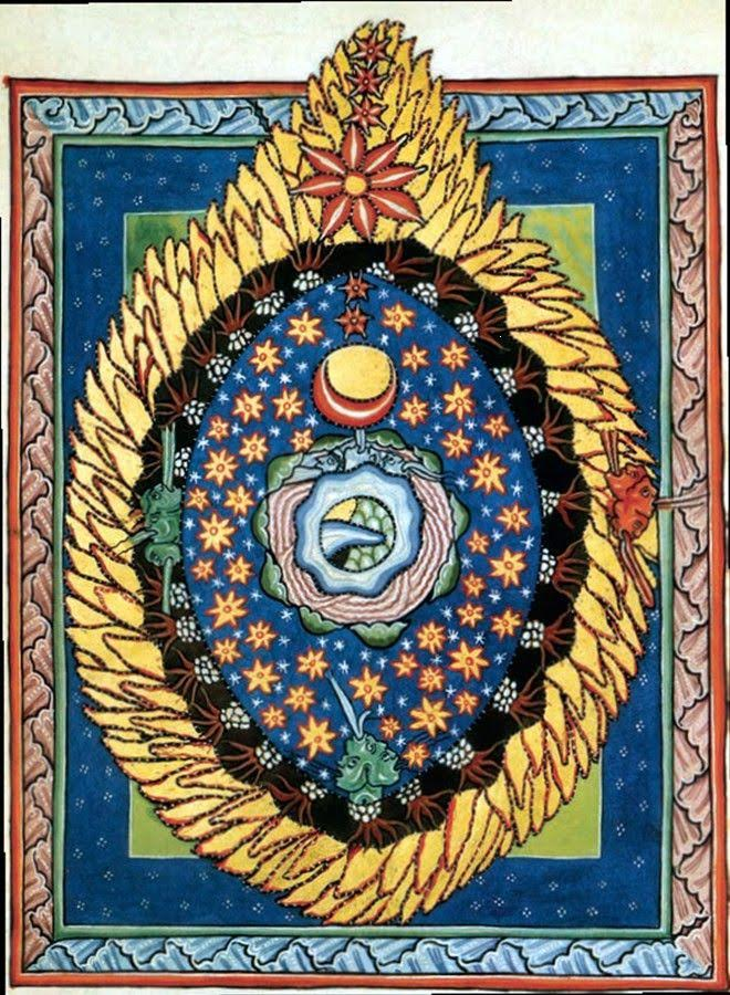 The twelfth-century mystic Hildegard of Bingen painted this image, portraying what she saw during one of her ecstatic experiences.
