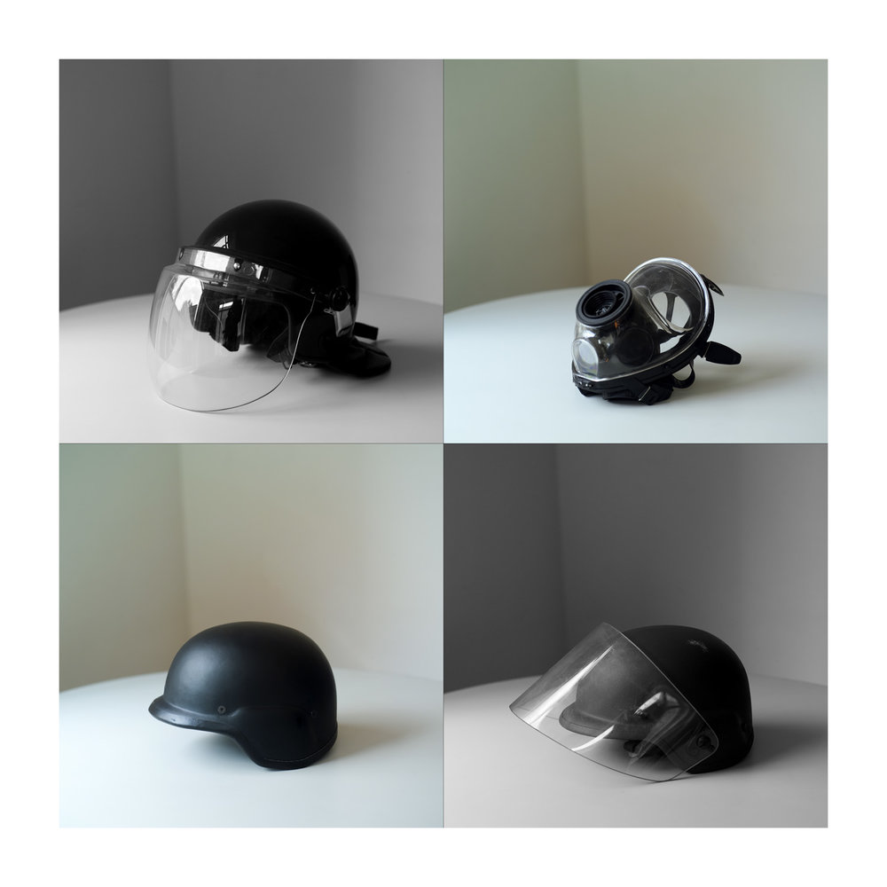 Helmets . Archival pigment print on cotton paper mounted on aluminum. 60 x 60 in.