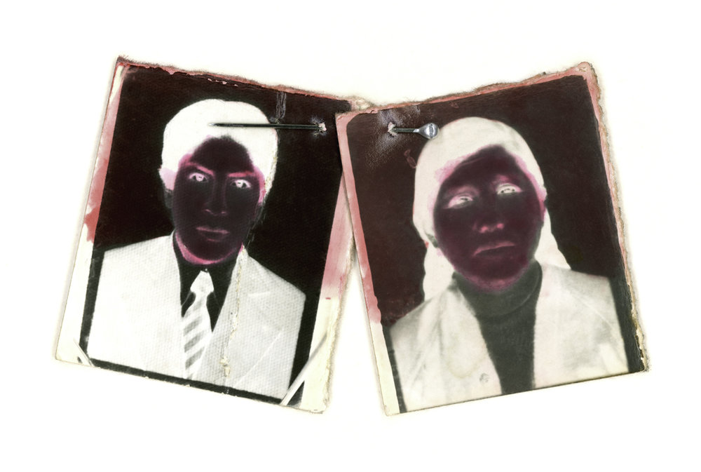 Under the Black Sun.  Hand-painted toned gelatin silver prints, pin, Mercurochrome. Variable dimensions. Diptych.