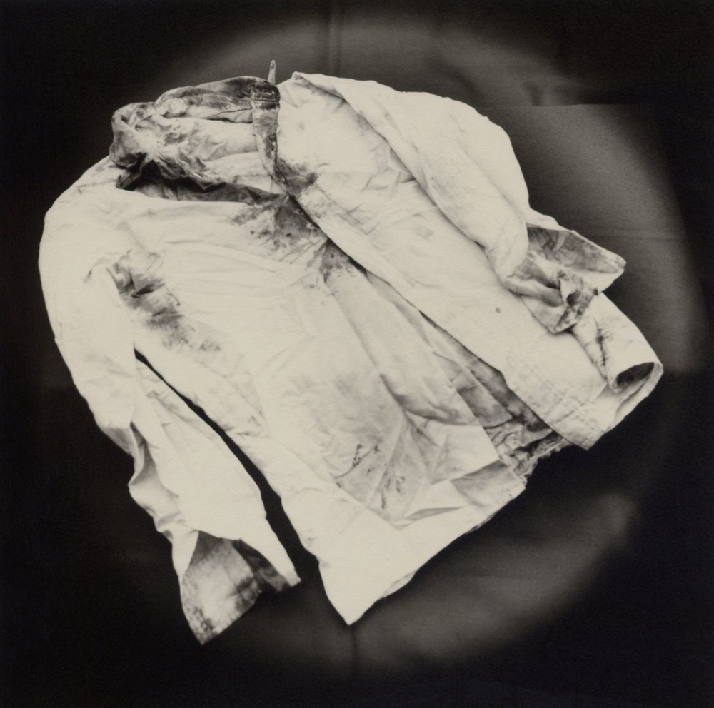 The Lost Steps (Shirt of journalist murdered in the Uchuraccay Massacre, Ayacucho)  Toned gelatin silver print. 16 x 16 in.