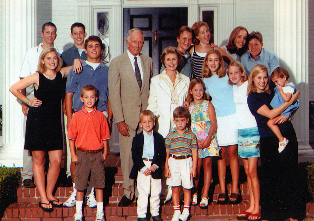 Dr. Cooley with his wife Louise and their grandchildren in 1998.