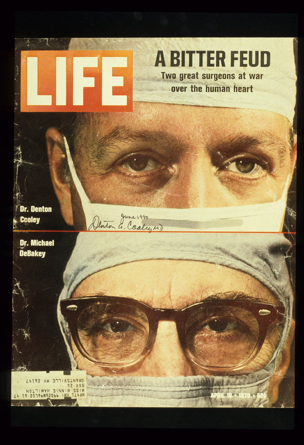 Life  cover, April 10, 1970. The magazine featured a story about the feud with Dr. DeBakey that resulted from the implant of the artificial heart. © 1970 Time Inc.  Life  is a registered trademark of Time Inc.