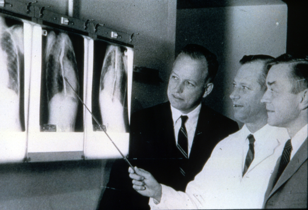(L-R) Dr. Cooley with Dr. Edward B. Singleton and Dr. Dan G. McNamara at Texas Children's Hospital in the early 1950s.