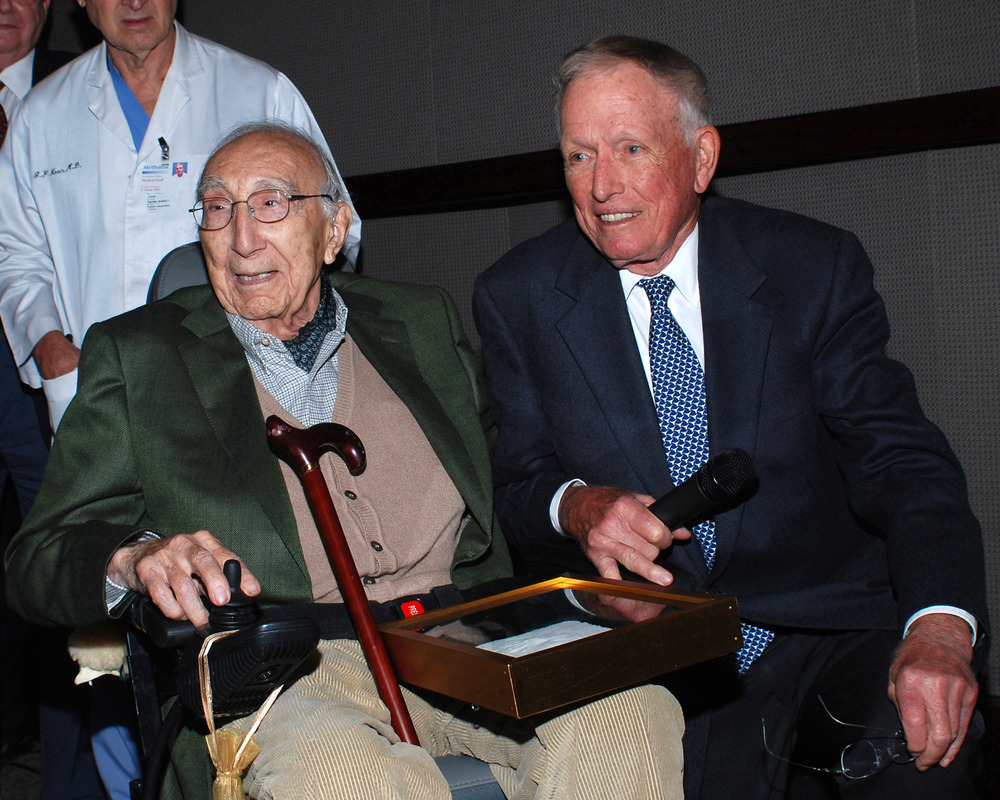 Dr. Cooley with Dr. Michael E. DeBakey after DeBakey accepted an honorary membership in the DAC Society on October 27, 2007.