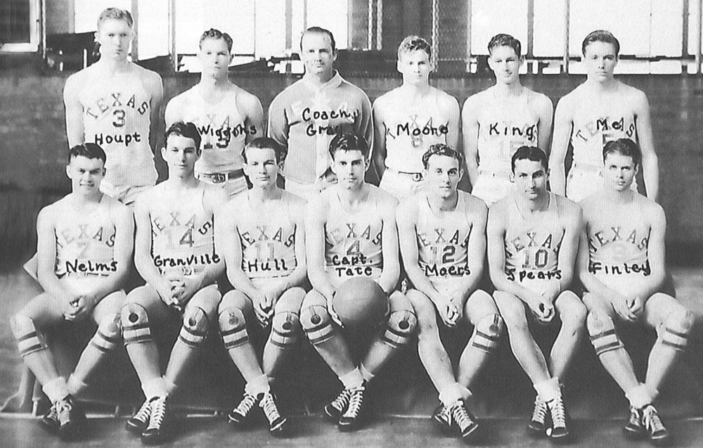 The UT Longhorn basketball team, 1939 Southwest Conference Champions. Dr. Cooley located on the top row, far right.