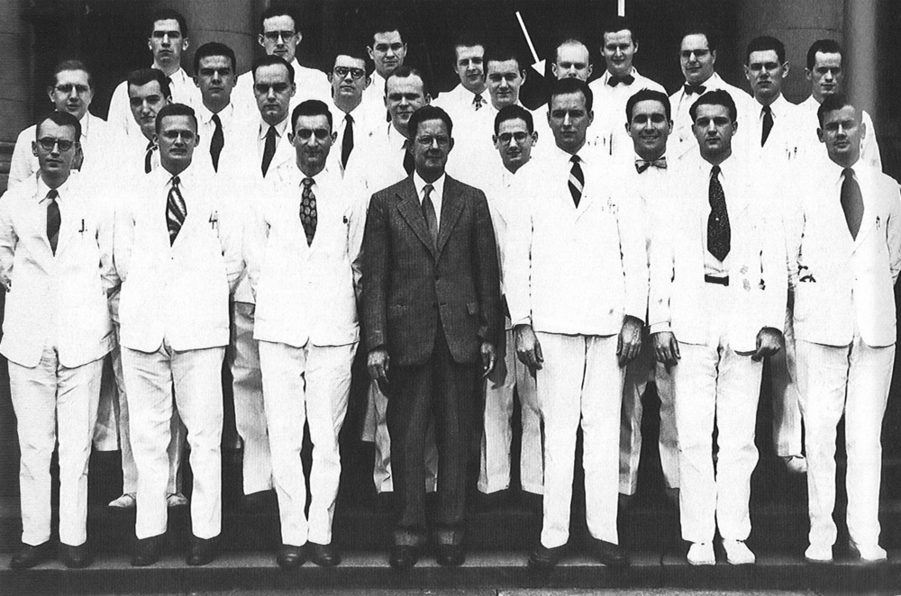 The John Hopkins Hospital surgical house staff (interns and residents) and Dr. Blalock, 1949. (Dr. Cooley denoted by arrow.)