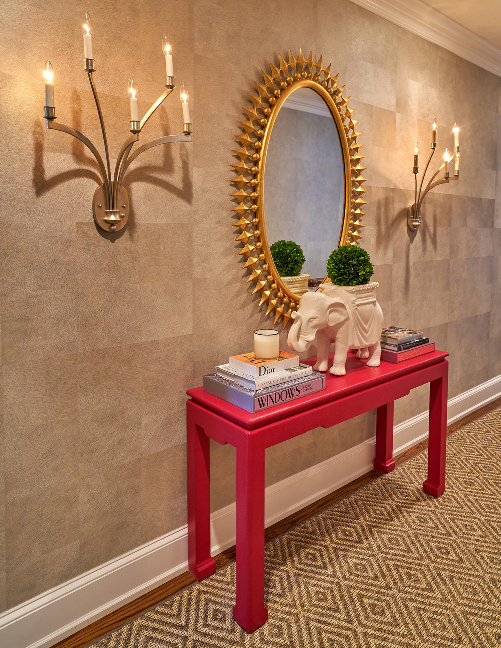Sophisticated hyde wallcovering brings elegance to this vignette.