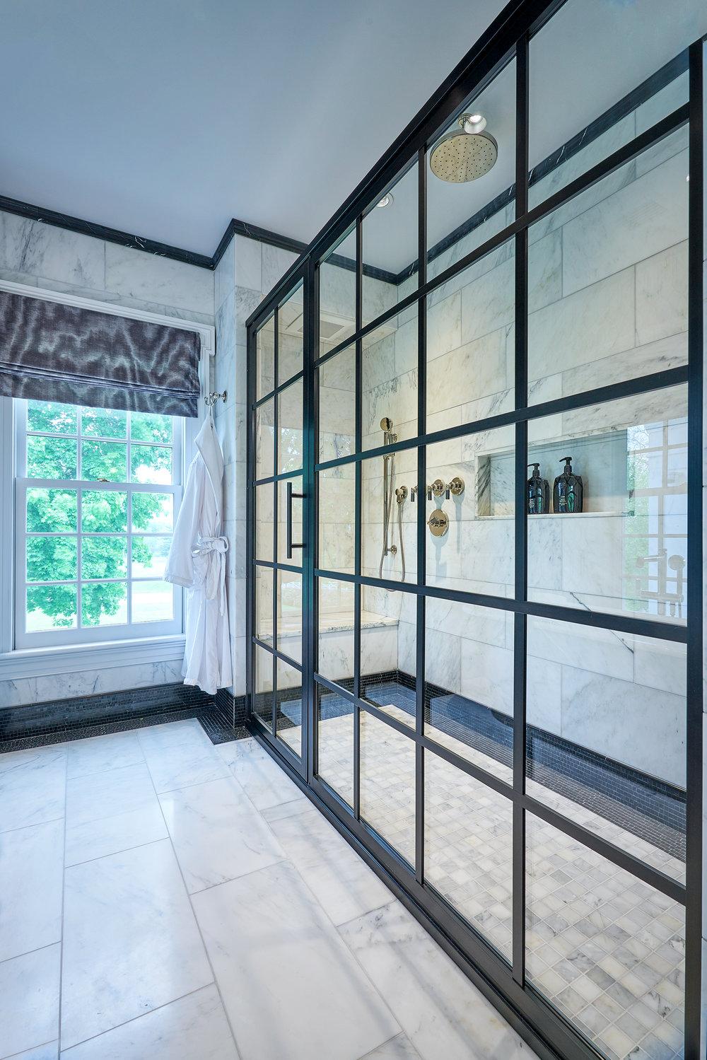 industrial elegance master bathroom