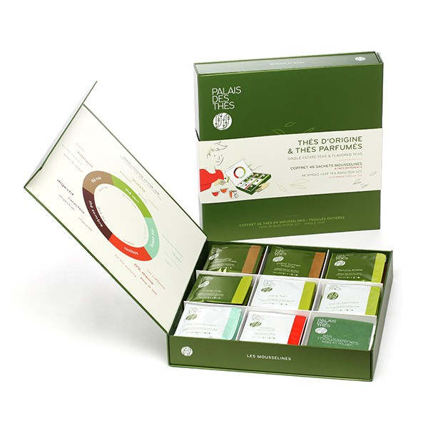 Palais des Thés, Gift Box of 8 different teas. 48 whole leaf muslin tea bags box set.