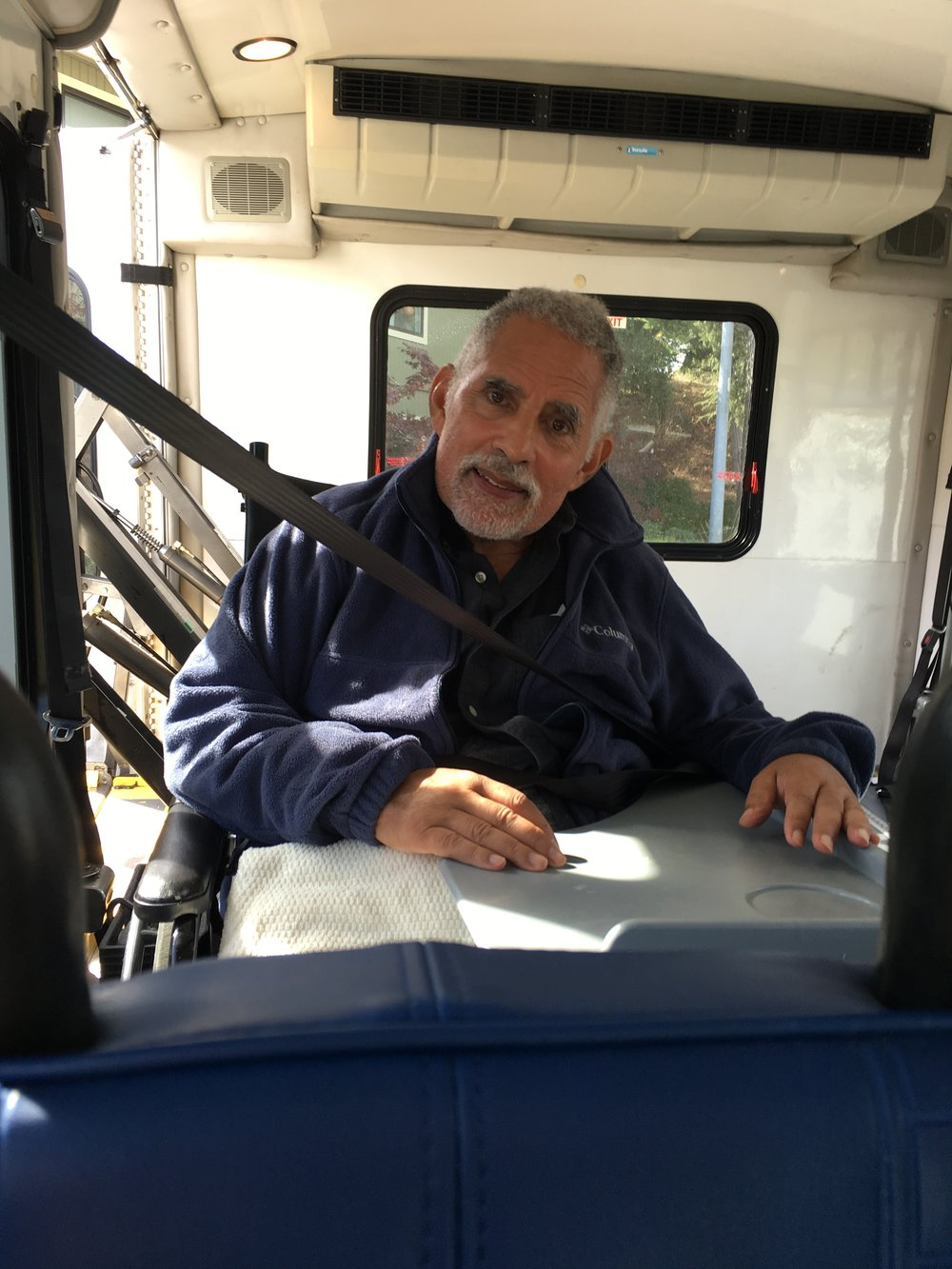 Richard Satterfield in a Paratransit bus in October of 2018