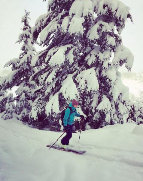 Amy helmbrecht  Originates from - Fairbanks, Alaska  Years Skiing - 25  Ski Industry Experience - 1 year retail/boot fitter  Ski Setup - Nordica Santa Ana 110  Ski Icon -Elyse Saugstad  Favorite Run at Alyeska -Gear Jammer  Favorite Backcountry Peak - Crescent Peak  Favorite Aprés Ski Drink - Hot Toddy