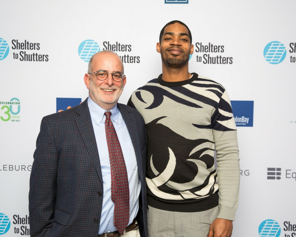 Doug Miller, ManagInc founder and CEO, with Julius Budd, a Shelters to Shutters program participant, at the A Night to Benefit Shelters to Shutters fund-raising event at the SW Arts Club in Washington, DC. ManagInc selected this unique organization to be one of its planned giving recipients