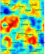 Heat map of discussion in SNAMP meetings: red conveys most consistently discussed topics; blue conveys least consistently discussed