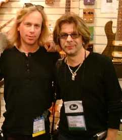With Johnny A at LA NAMM show endorsing Bad Cat Amps