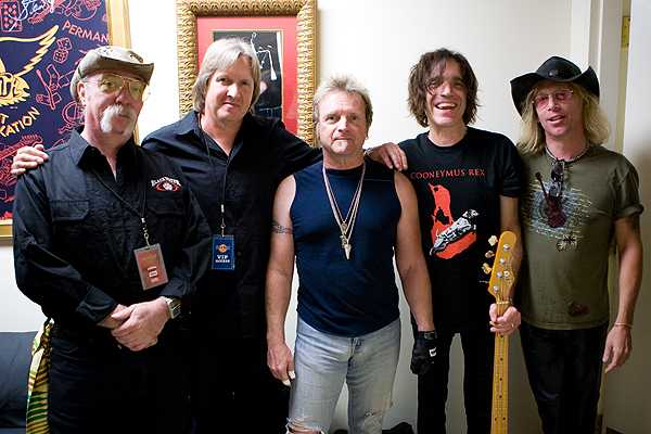 "With Jeff ""Skunk"" Baxter, George McCann, Joey Kramer, and David Hull at Gillette Stadium"