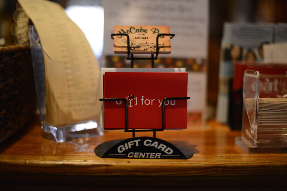 McCabe Pub Gift Cards and To-Go Menu