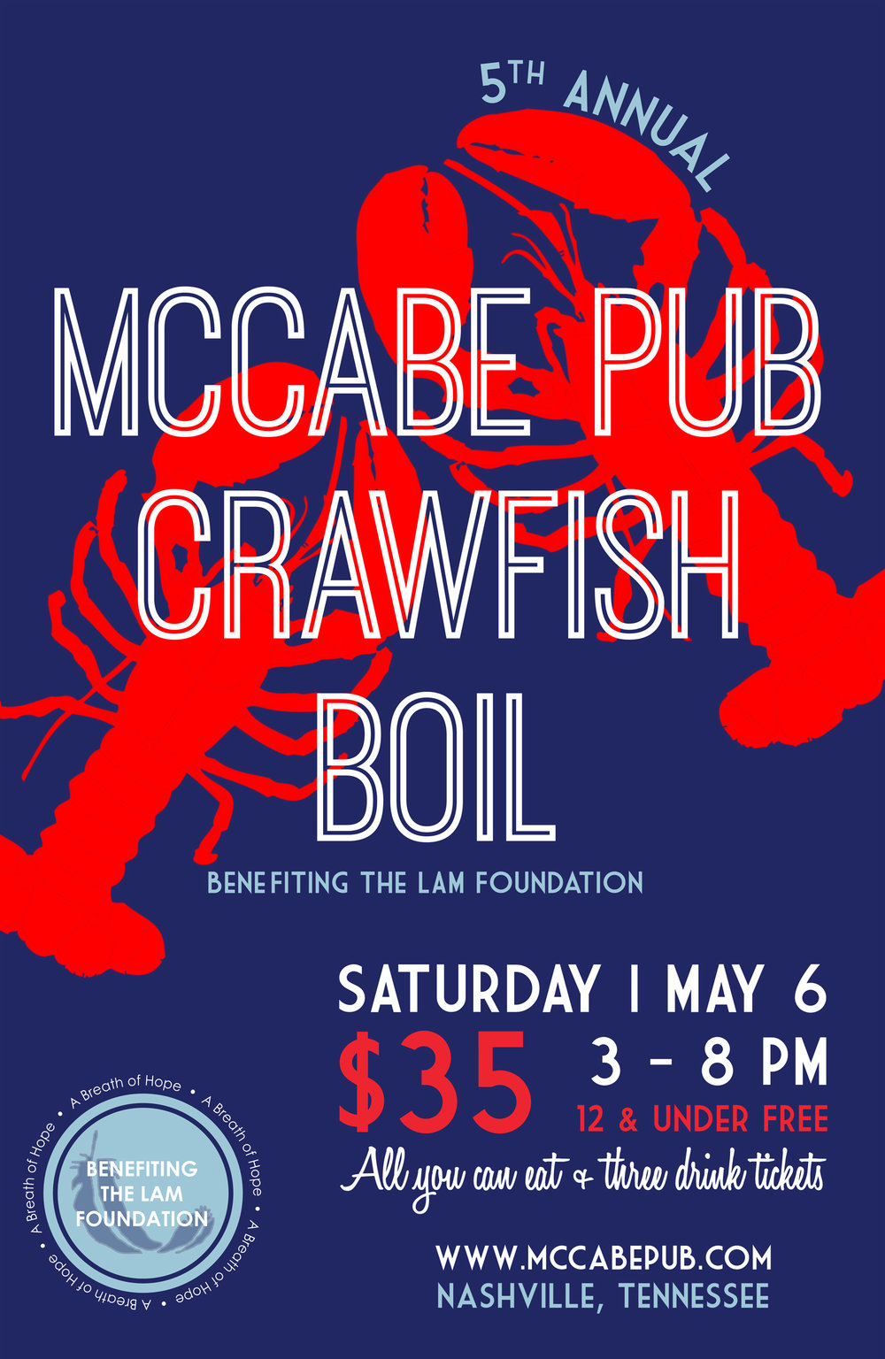 McCabe Pub 5th Annual Crawfish Boil Fundraiser LAM Foundation