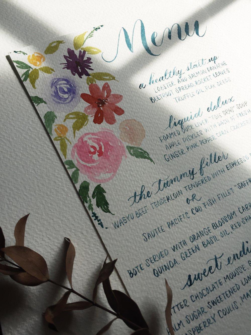 floral menu