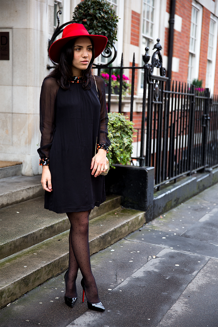 French Connection dress//Hat from Asos//Christian Louboutin 140mm heels//Love Moschino purse