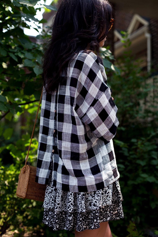 Skirt and shirt from Zara//Purse from a market in Bali//Sunglasses Prada