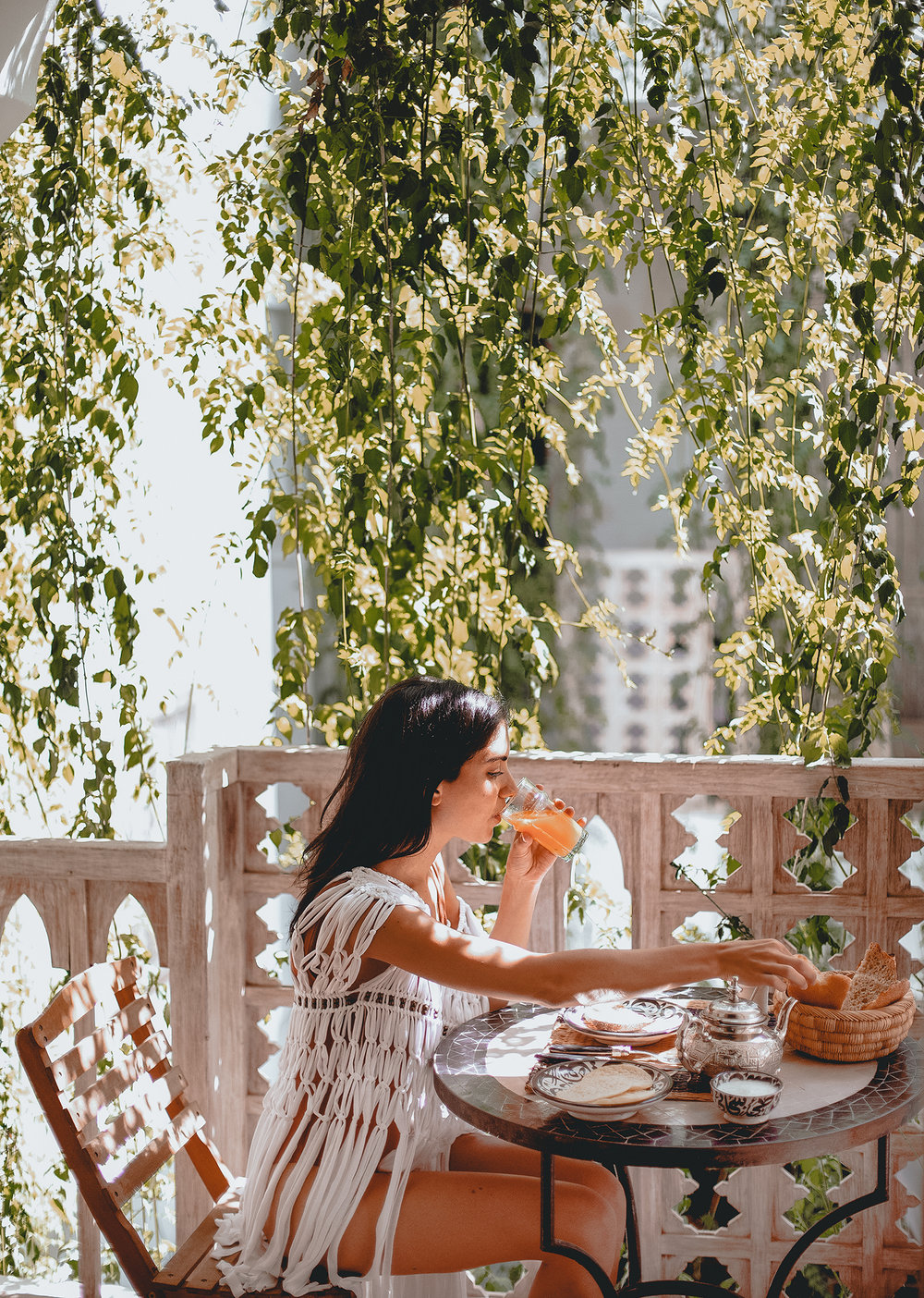 Breakfast at Riad Safa in front of our room//Wearing Mayrah
