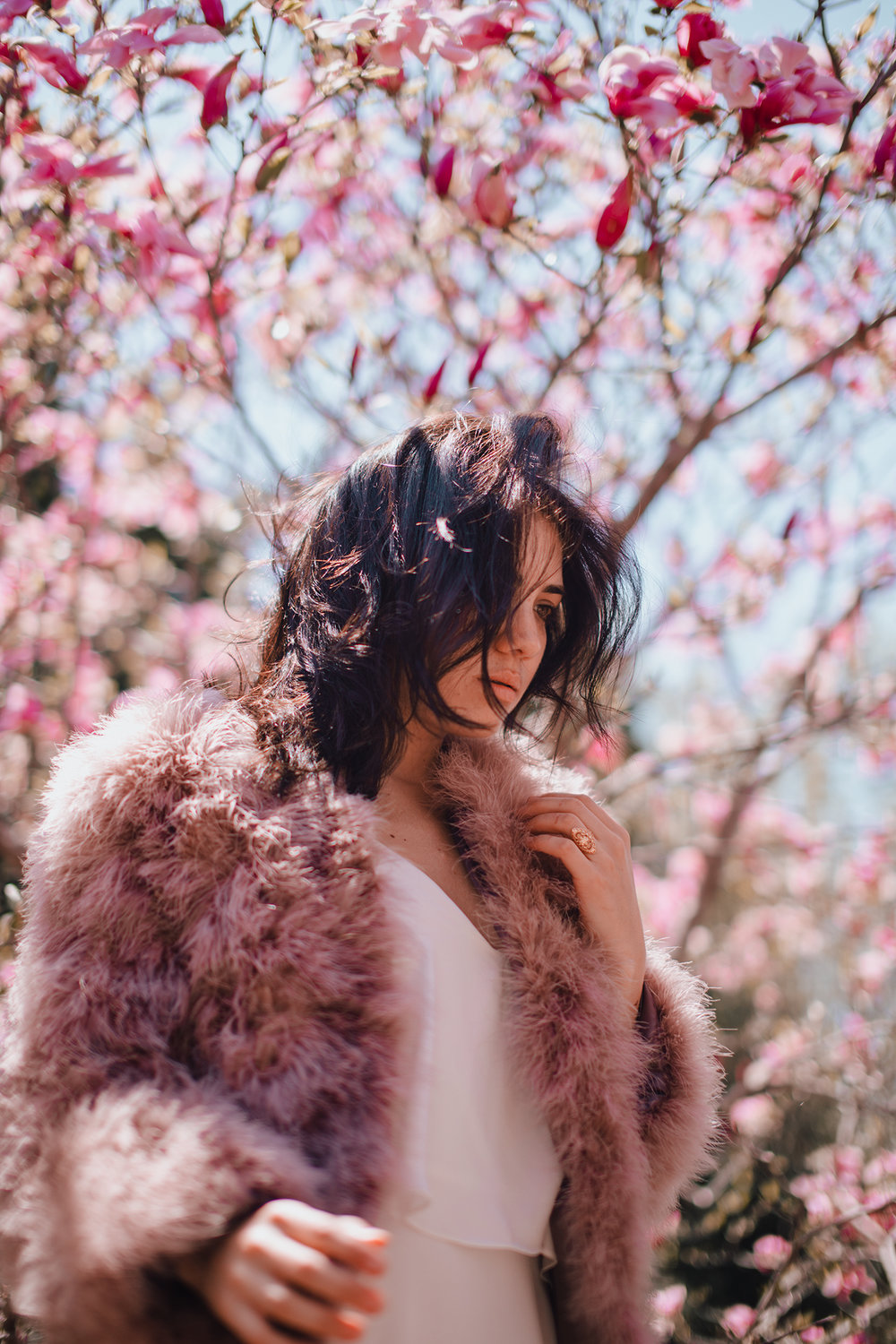 Wearing Pellobello Fluffy Feather Jacket in coral pink available  here