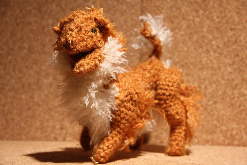"Crochet armature puppet; 8x6x3"". Aluminum, multi-fiber yarn."
